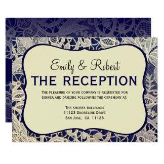 Carte Réception de mariage formelle ene ivoire de bleu