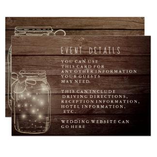 Carte Réception en bois rustique de pays de pot de maçon