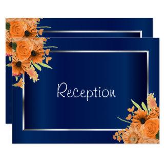 Carte Réception - fleurs assez oranges sur le bleu