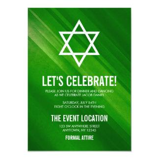 Carte Réception grunge verte moderne de Mitzvah de barre