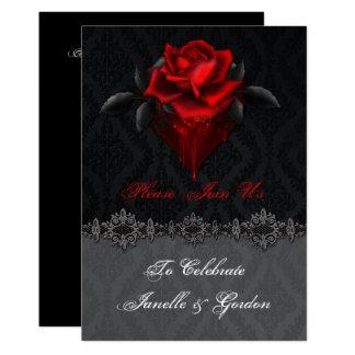 Carte Réception noire de damassé de roses rouges sang