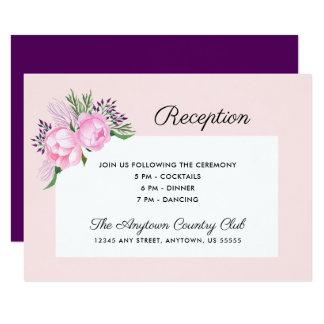 Carte Réception rose de l'aquarelle | de pivoines
