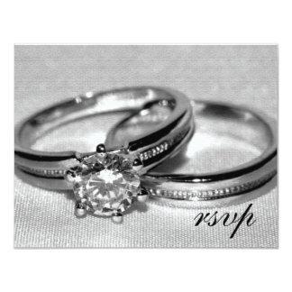 Carte réglée de l'anneau de noces de diamant RSVP Carton D'invitation 10,79 Cm X 13,97 Cm