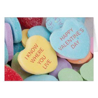 Carte rejetée drôle de Saint-Valentin de coeurs de