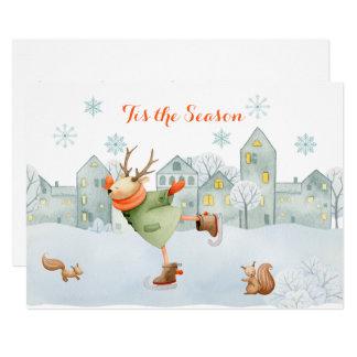 Carte Renne et Noël | de piste de patinage d'écureuils