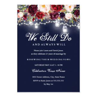 Carte Renouvellement floral de voeu de mariage de