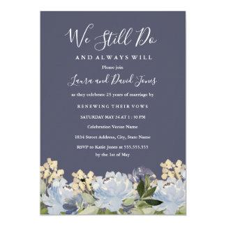 Carte Renouvellement floral élégant de voeu de mariage