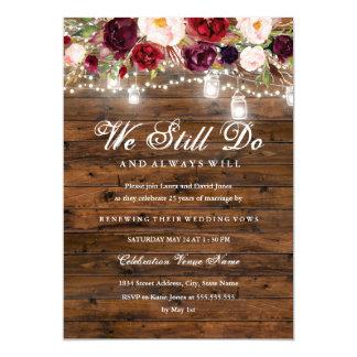 Carte Renouvellement floral rustique de voeu de mariage