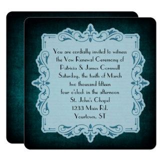 Carte Renouvellement turquoise vintage de voeu