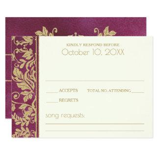 Carte Réponse de mariage damassé de rubis et d'or
