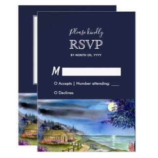 Carte Réponse éclairée par la lune RSVP de mariage