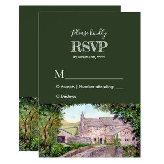 Carte Réponse en pierre RSVP de mariage d'aquarelle de