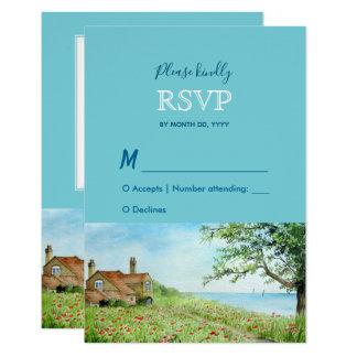 Carte Réponse RSVP de mariage d'aquarelle de champ de