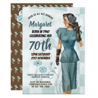 Carte RÉTRO femme des années 1940 de soixante-dixième