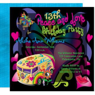 Carte Rétro paix d'années '60 et fête d'anniversaire