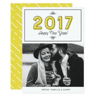 Carte Rétro photo 2017 jaune de bonne année de