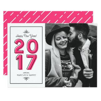 Carte Rétro photo II de bonne année de typographie de