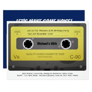 Carte RÉTRO soixantième cassette de musique d'invitation