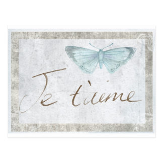 Carte romantique d'amour français de papillon de