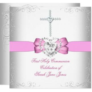 Carte Rose blanc de première sainte communion de fille