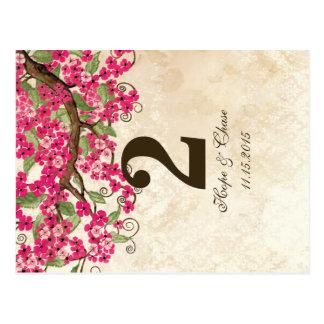 Carte rose chic de nombre de Tableau de fleurs de