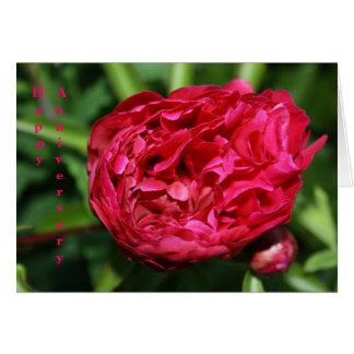 Carte rose d'anniversaire de pivoine rose