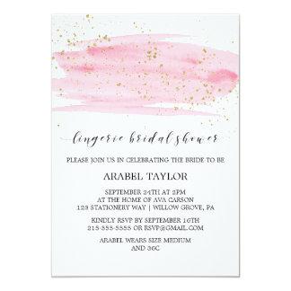 Carte Rose d'aquarelle et douche nuptiale de lingerie