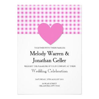 Carte rose de faire-part de mariage de coeur de