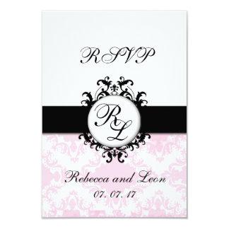 Carte rose de mariage damassé RSVP d'initiales Carton D'invitation 8,89 Cm X 12,70 Cm