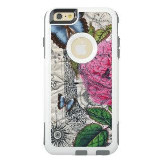 carte rose de papillon de cru coque OtterBox iPhone 6 et 6s plus