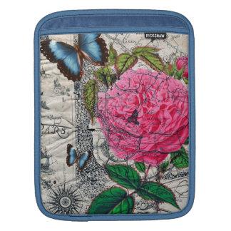 carte rose de papillon de cru housse iPad