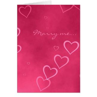 Carte rose de proposition de mariage de coeurs