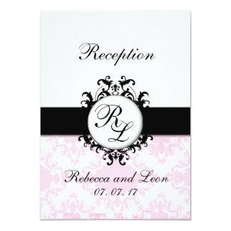 Carte rose de réception de mariage damassé carton d'invitation  11,43 cm x 15,87 cm