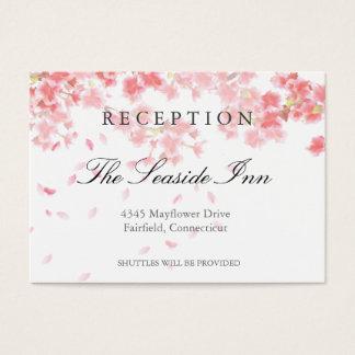 Carte rose de réception de mariage de fleurs de