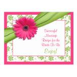 Carte rose de recette de Gerber pour un mariage Cartes Postales