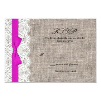 Carte rose de réponse de mariage d'arc et de invitations personnalisées