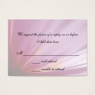 Carte rose de réponse de mariage de pétale de