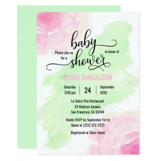 Carte Rose de roses d'aquarelle et baby shower vert en