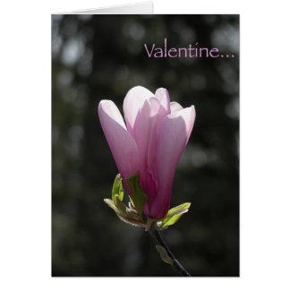 Carte rose de Saint-Valentin de magnolia