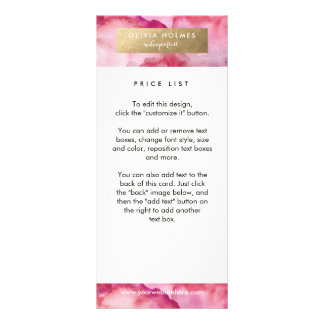 Carte rose de support d'aquarelle d'aluminium de