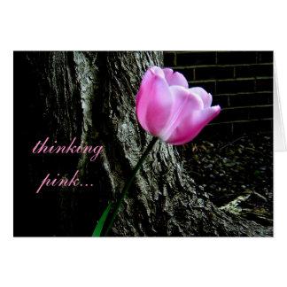 Carte rose de tulipe