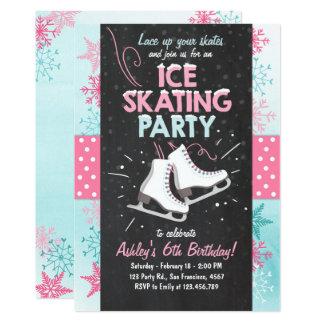 Carte Rose d'hiver de patin d'invitation d'anniversaire