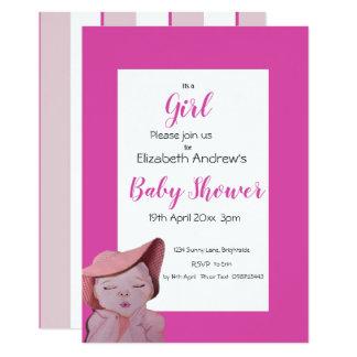 Carte Rose d'invitation de douche de bébé barré