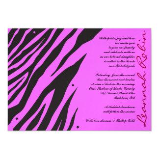 Carte Rose d'invitation de Mitzvah de barre de batte de