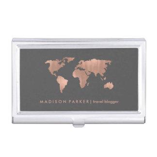 Carte rose du monde d'or de Faux sur le gris Porte-cartes De Visite