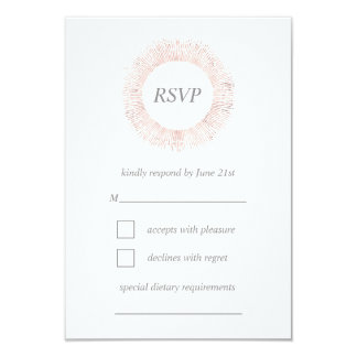 Carte rose élégante du monogramme RSVP d'or Carton D'invitation 8,89 Cm X 12,70 Cm