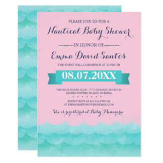 Carte Rose en pastel au baby shower nautique de mer