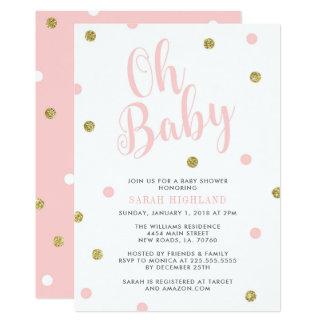 Carte Rose et baby shower de parties scintillantes d'or