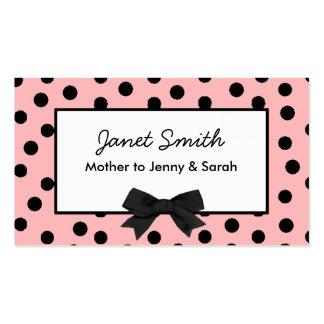 Carte rose et noire à la mode de maman de point de carte de visite standard