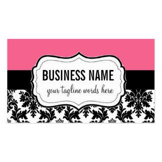 Carte rose et noire avec la damassé modèles de cartes de visite